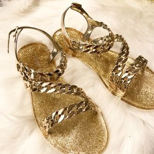 Rose of Sharon Shoes - Gold Jelly Flats