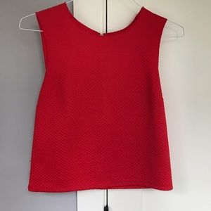 Trouve Tops - Trouve Red Structured Textured Sleeveless Tank Top
