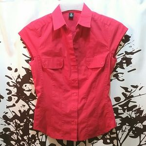 H&M Red Button Down Cap Sleeve Top