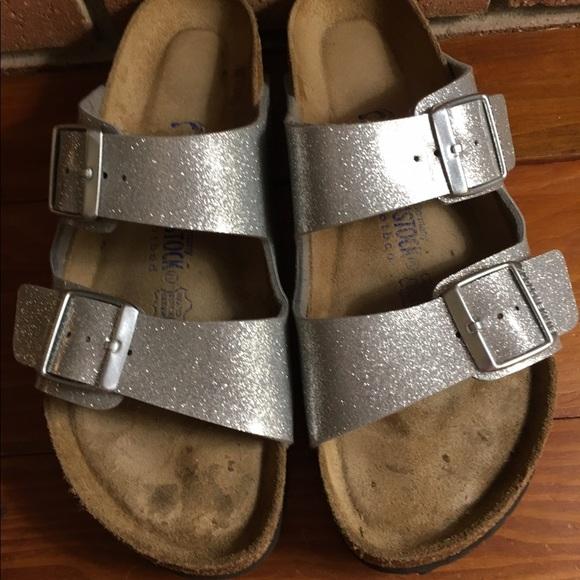 Birkenstock Birkenstocks Silver Glitter Arizona Sandals