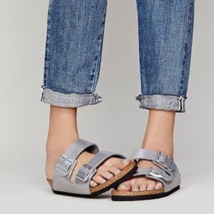 Birkenstock Shoes - Birkenstocks silver glitter Arizona sandals 40/9