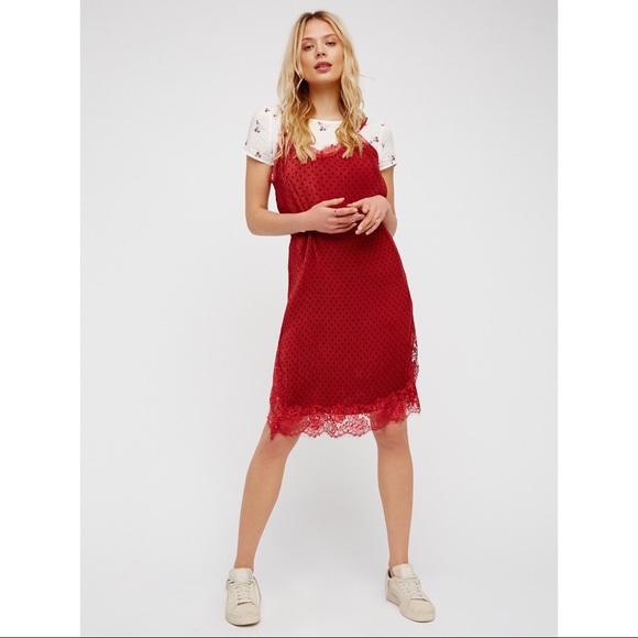 fe9490f1fd2c Free People Dresses | Margot Slip Dress Red Floral Tee Combo | Poshmark