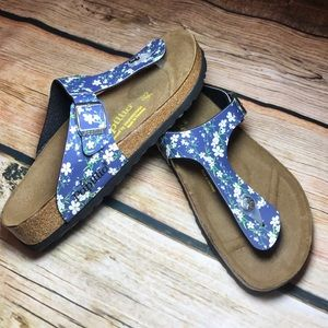 Birkenstock Shoes - BIRKENSTOCK PAPILLIO GIZEH SANDAL BLUE FLORAL SZ 7