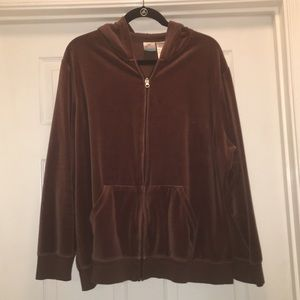 Just My Size Tops - ⭐️FINAL⭐️ Light Brown Velour Hoodie Plus Size