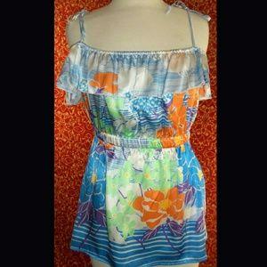Arden B Tops - ARDEN B blue floral silk satin blouse S