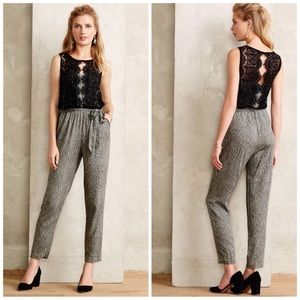 Anthropologie Pants - Elevenses Medley Chantilly lace feather jumpsuit