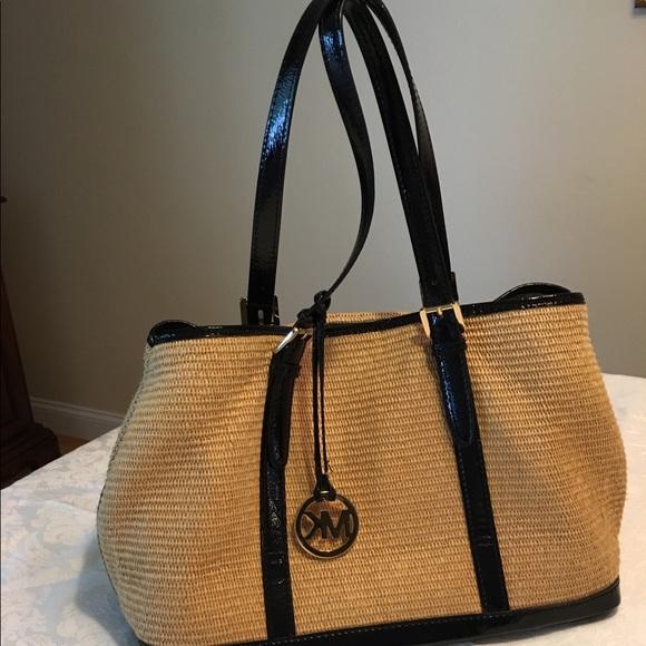 483b16f9791a Michael Kors Straw Bag, Black Patent Leather Trim.  M_59457cda36d5941df007a30f