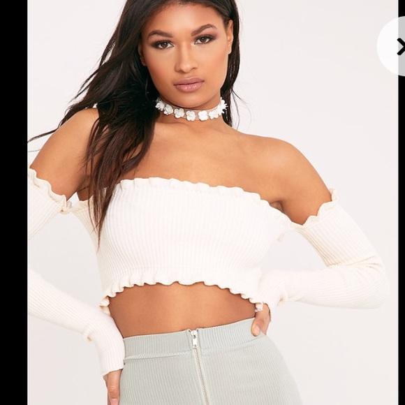 173dd091b1fcc Areyouami inspired Cropped Bardot Long Sleeve Top