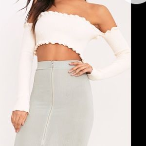 fcc348b1c45a4 pretty little thing Tops - Areyouami inspired Cropped Bardot Long Sleeve Top