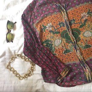 Nostalgia Tops - Nostalgia Boho Button Up top with floral detail
