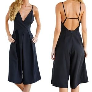 NWT black open back jumpsuit