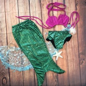 Other - Boutique Girls Mermaid 3pc Swimwear set