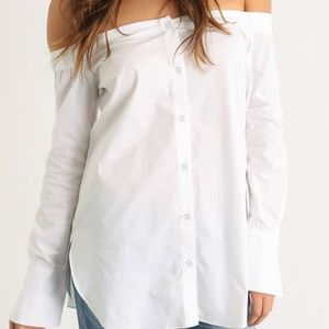 Abbeline Tops - White off the shoulder button down