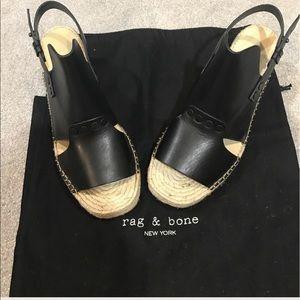 rag & bone Shoes - Rag & Bone Espadrille Wedge Black Leather 39.5 NWT
