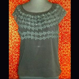 unknown Tops - Sheer black wide collar applique blouse S