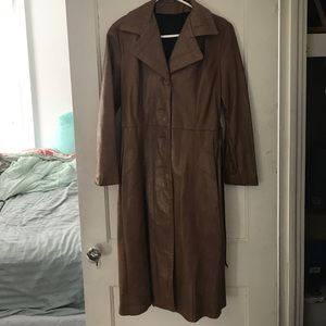 Jackets & Blazers - Brown leather trench coat