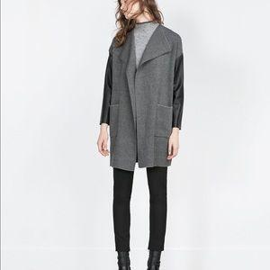 Zara Jackets & Blazers - ZARA GREY FAUX LEATHER SLEEVES COAT