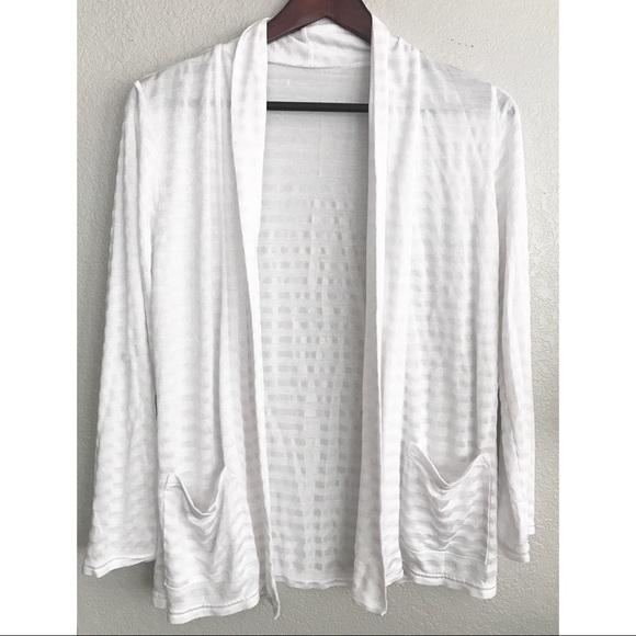 Sheer White Striped Draped Cardigan M from Connie's closet on Poshmark