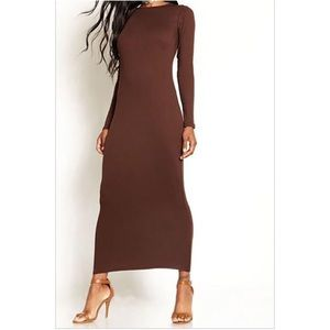 Dresses & Skirts - Chocolate brown body con maxi dress