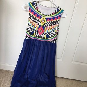 SheIn blue chiffon geometric tribal dress
