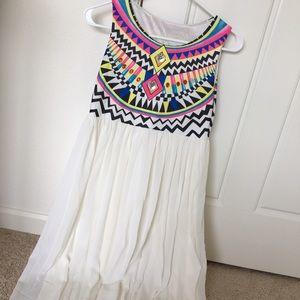 SheIn white chiffon geometric tribal dress