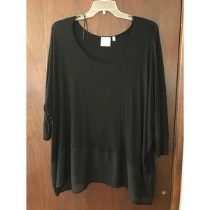 Dantelle Tops - Black Shirt With Chiffon Bottom