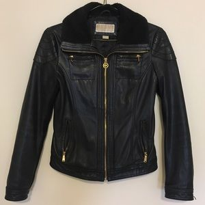 • Michael Kors black Leather jacket size Small •