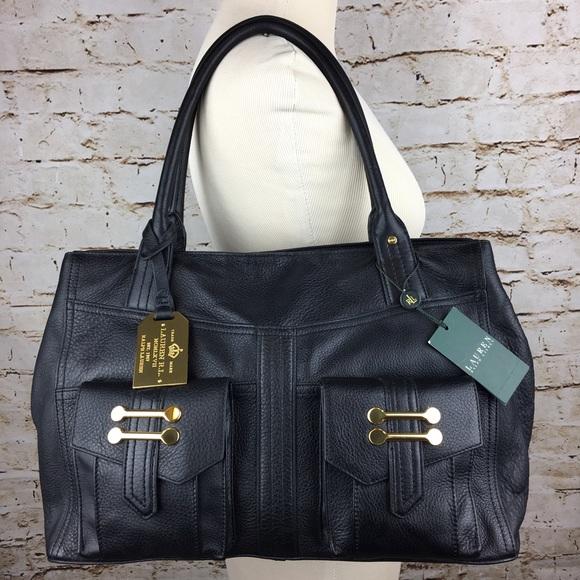f110d68a6fed NWT Ralph Lauren Bermondsey black leather handbag