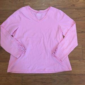 Denim & Co. Tops - Denim & Co. Pink Long Sleeve