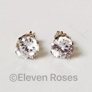 Jewelry - Sterling Silver White CZ Stud Earrings 1.50 CTW