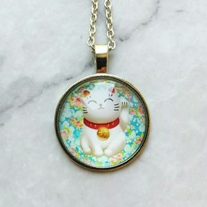 Jewelry - Chinese Happy Cat Glass Cabochon Necklace