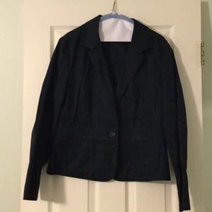 Talbots navy cotton blazer