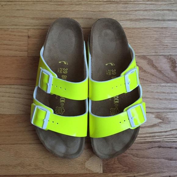 6ac9c56577db Birkenstock Shoes - Birkenstock Patent Neon Yellow Arizona Sandals