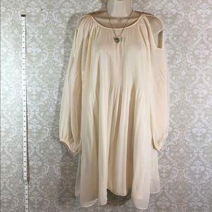 Dresses & Skirts - Cream Could Shoulder Dress