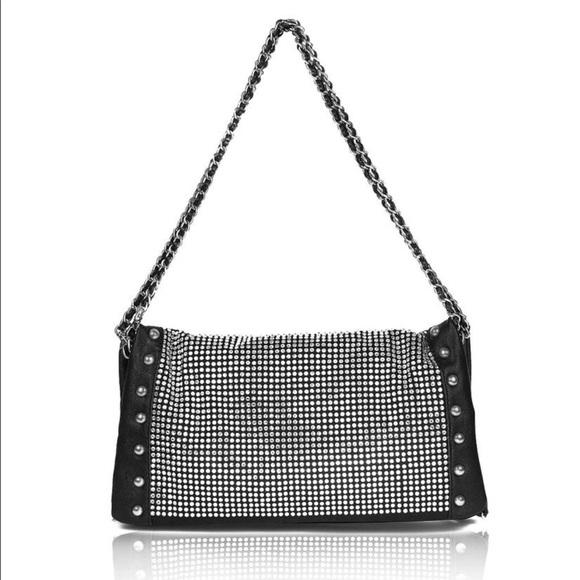 c19bf1a2b Bobby Schandra Bags | Studded Black Rockstar Rhinestone Shoulder Bag ...
