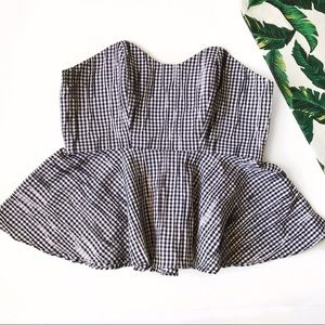 Alexis Tops - ➡Alexis Gingham Cotton-Blend Strapless Top⬅