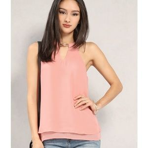Papaya Tops - Layered Chiffon Keyhole Top
