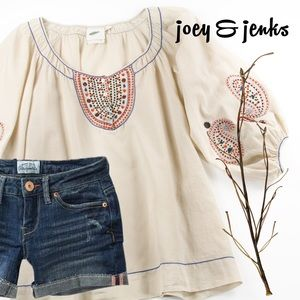 Nurture Tops - 🍉🍉SALE🍉🍉Cream Boho Top with Embroidery