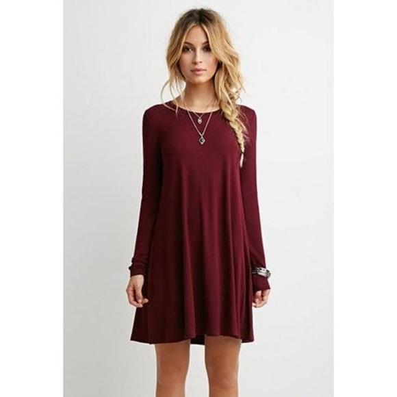 f6a687f76a74 Dresses | Maroon Long Sleeve Swing Dress | Poshmark