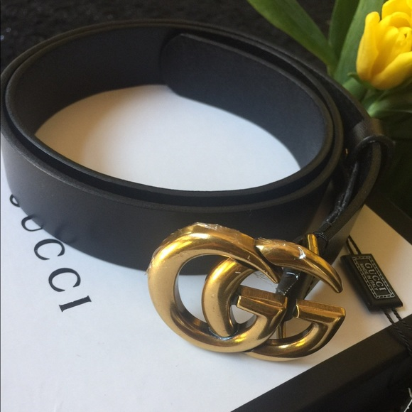 d2bd47cd9 Gucci Accessories | Leather Belt With Double G Buckle 90 Cm Length ...