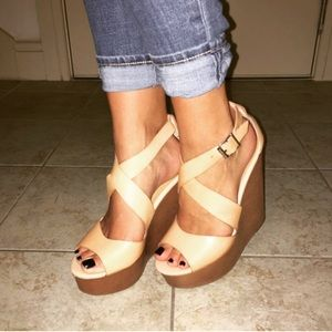 Nude Leather Platform Wedge Sandals