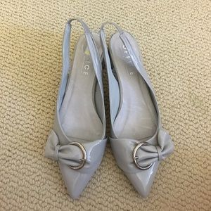 Office grey patent pumps