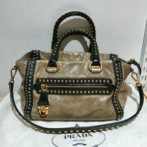 794107d1e6 Prada Bags - Authentic Prada Glace Calf Stud Tote in Gold Color