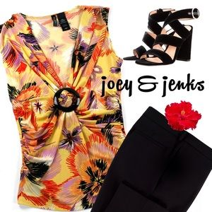 Bisou Bisou Tops - 🍉🍉SALE🍉🍉Yellow & Black Sleeveless Floral Top