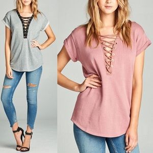 RORY Lace Up Plunge Top - 3 colors