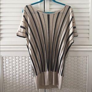 Cache Tops - Cache gold metallic cold shoulder top m stripes