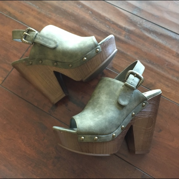 df71eba87 G by Guess Shoes - Guess open toe olive green clog  mule wedges