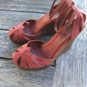 Joie Shoes - Joie Distressed Red Leather Wedge Shoes