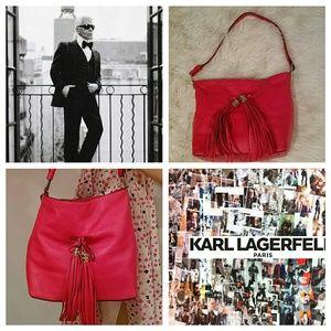 Karl Lagerfeld Handbags - Big & Bold KARL LAGERFELD Fringe Tassle Bucket Bag