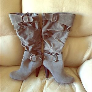 LIKE NEW Gray Bamboo Tall Boots- 8 1/2